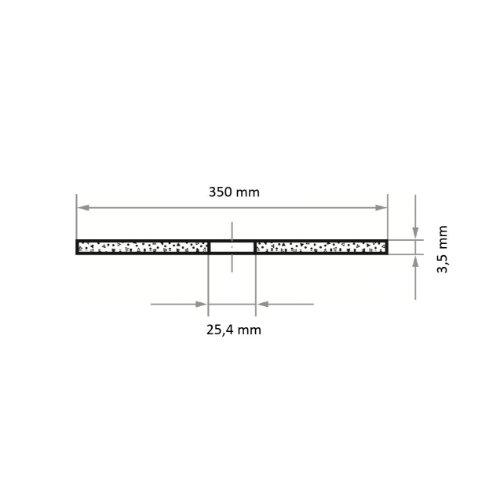 10 Stk   Trennscheibe T41 für Stahl 350x3.5 mm gerade   Bohrung 25,40 mm   für Trennvorrichtung Abb. Ähnlich