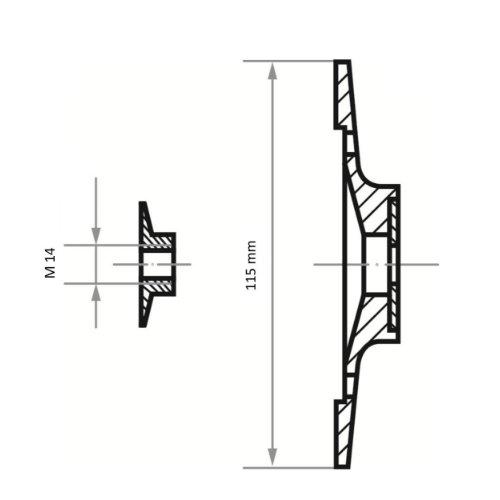 1 Stk | Stützteller STF für Fiberscheiben Ø 115 mm mit M14-Gewinde | mit Kühlrippen Abb. Ähnlich
