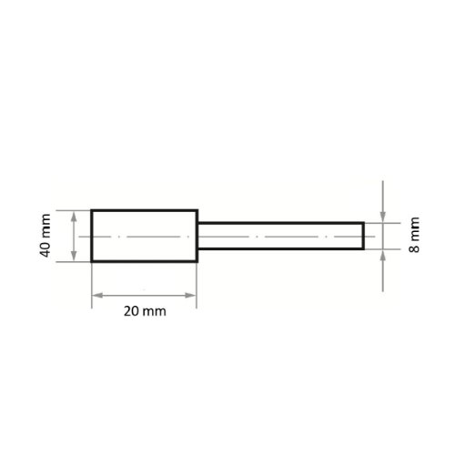 20 Stk | Schleifstift ZY Zylinderform für Werkzeugstähle 40x20 mm Schaft 8 mm | Korn 24 hart Abb. Ähnlich