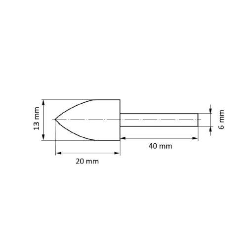 10 Stk | Polierstift P2SP Spitzbogenform 20x32 mm Korn 220 | Schaft 6 mm Abb. Ähnlich