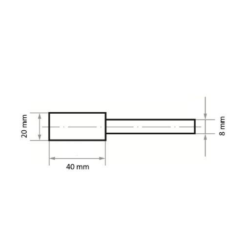 20 Stk | Schleifstift ZY Zylinderform für Werkzeugstähle 20x40 mm Schaft 8 mm | Korn 24 weich Abb. Ähnlich