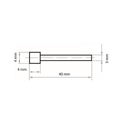 1 Stk   Diamantschleifstift DSK Kugelform 4x4 mm Schaft 3 mm Abb. Ähnlich