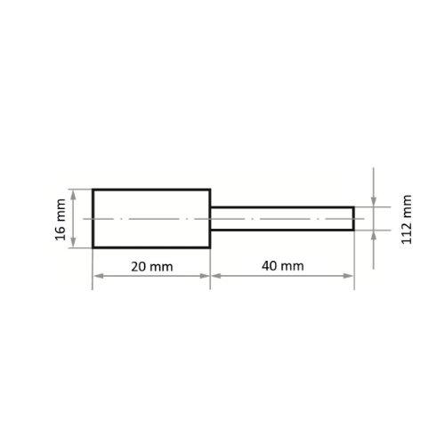 10 Stk | Polierstift P3ZY Zylinderform 16x20 mm Schaft 6 mm Filz für Polierpaste Maßzeichnung