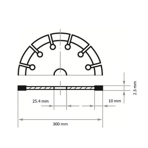 1 Stk   Diamanttrennscheibe LD3 S10 für Stein/Beton/Asphalt Ø 300 mm Benzin-Trennschneider Abb. Ähnlich