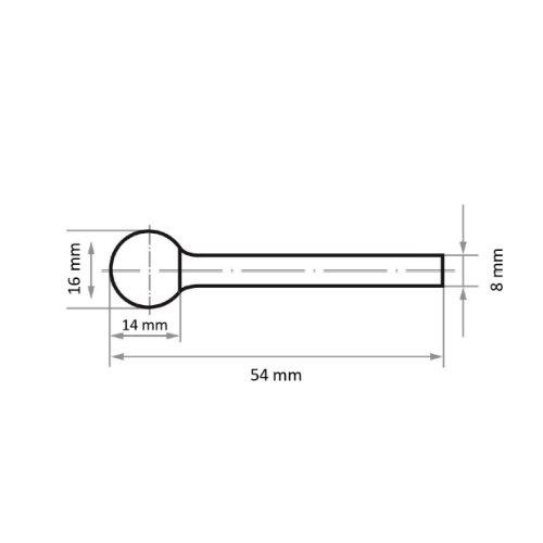 1 Stk | Fräser HFD Kugelform für Edelstahl/Stahl 16x14 mm Schaft 8 mm | Verz. 3 Abb. Ähnlich