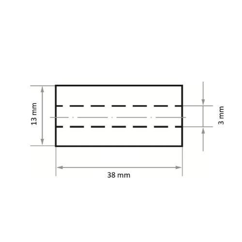 50 Stk | Schleifrolle SRZY universal 13x38 mm Ceramic Korn 80 Maßzeichnung